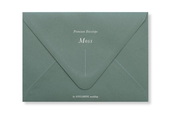 ซองการ์ดแต่งงาน สีเขียวมอส moss แบบพรีเมียม ทรงยุโรป แบบมาตรฐาน ใส่การ์ดแต่งงานขนาด 5x7 4x6 4x9