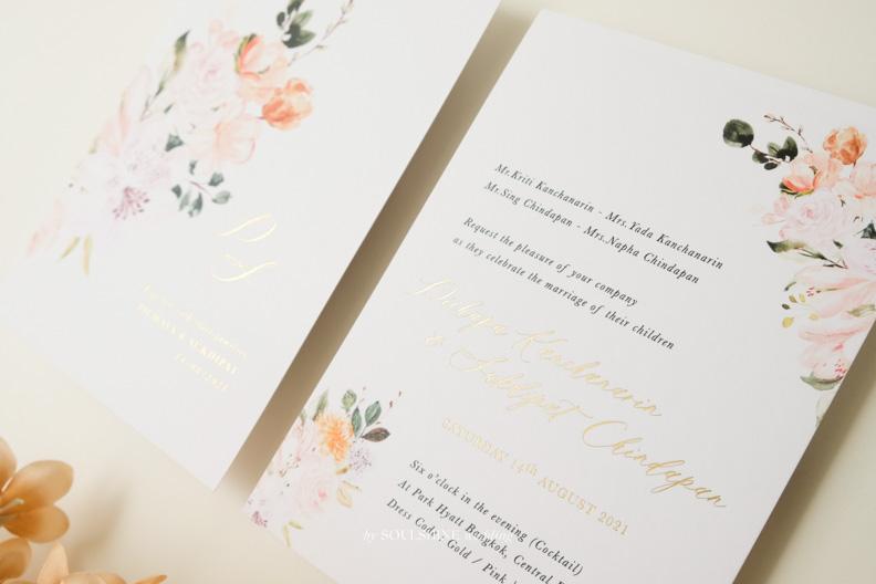 การ์ดแต่งงานปั๊มฟอยล์หน้าหลัง การ์ดแต่งงาน การ์ดงานแต่ง แบบการ์ดแต่งงาน ออกแบบการ์ดแต่งงาน พิมพ์การ์ดแต่งงาน ขนาด ราคา ปั๊มทอง ปั๊มนูน ปั๊มฟอยล์ ไดคัท การ์ดพับ การ์ดประกบ