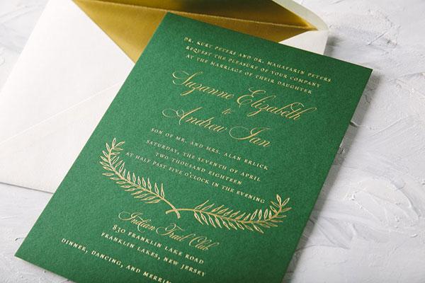 การ์ดแต่งงานเรียบหรู ธีมสีสุดฮิต ดูสวยแพง, แบบการ์ดแต่งงานเรียบๆ แบบการ์ดแต่งงานหรูๆ แบบการ์ดแต่งงานสวยหรูดูแพง แบบการ์ดแต่งงานหรูหรา แบบการ์ดแต่งงานเก๋ๆ การ์ดงานแต่งเก๋ๆ แบบพิมพ์การ์ดแต่งงานสวยๆ แบบการ์ดแต่งงานมินิมอล ราคาถูก แบบการ์ดแต่งงานขนาด 5x7 4x6 4x9 การ์ดแต่งงานสีแดง การ์ดเชิญงานแต่ง สีน้ำเงิน สีชมพู สีเขียวขาว สีเทา การ์ดแต่งงานสีทอง สีเงิน สีโรสโกลด์ สีพิงค์โกลด์ ออกแบบการ์ดแต่งงาน ฟรี แบบที่ 9 สีเขียวทอง