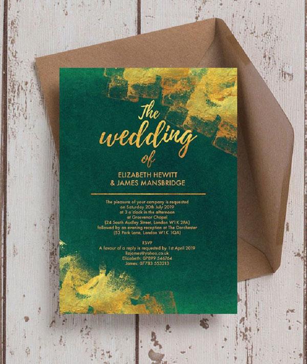 การ์ดแต่งงานเรียบหรู ธีมสีสุดฮิต ดูสวยแพง, แบบการ์ดแต่งงานเรียบๆ แบบการ์ดแต่งงานหรูๆ แบบการ์ดแต่งงานสวยหรูดูแพง แบบการ์ดแต่งงานหรูหรา แบบการ์ดแต่งงานเก๋ๆ การ์ดงานแต่งเก๋ๆ แบบพิมพ์การ์ดแต่งงานสวยๆ แบบการ์ดแต่งงานมินิมอล ราคาถูก แบบการ์ดแต่งงานขนาด 5x7 4x6 4x9 การ์ดแต่งงานสีแดง การ์ดเชิญงานแต่ง สีน้ำเงิน สีชมพู สีเขียวขาว สีเทา การ์ดแต่งงานสีทอง สีเงิน สีโรสโกลด์ สีพิงค์โกลด์ ออกแบบการ์ดแต่งงาน ฟรี แบบที่ 8 สีเขีขวทอง