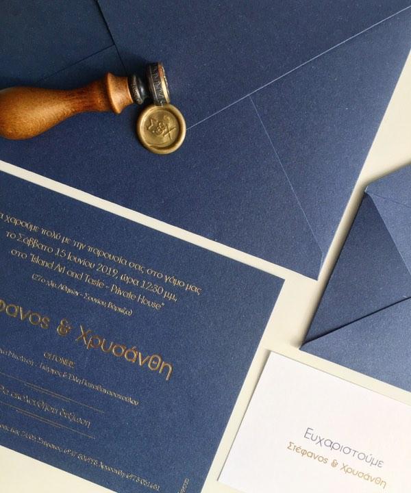 การ์ดแต่งงานสีน้ำเงินเข้ม Navy Blue การ์ดงานแต่งสีกรมท่า การ์ดแต่งงานสีน้ำเงินทอง การ์ดเชิญงานแต่ง ขนาด 5x7 4x9 นิ้ว ปรับข้อความและลำดับพิธีการด้านหลังการ์ดได้ แบบพิมพ์การ์ดแต่งงานธีมสีสวยๆ ปั๊มนูน ปั๊มฟอยล์ทอง เงิน โรสโกลด์ 32