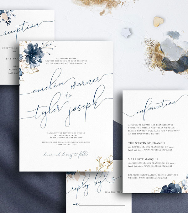 การ์ดแต่งงานสีน้ำเงินเข้ม Navy Blue การ์ดงานแต่งสีกรมท่า การ์ดแต่งงานสีน้ำเงินทอง การ์ดเชิญงานแต่ง ขนาด 5x7 4x9 นิ้ว ปรับข้อความและลำดับพิธีการด้านหลังการ์ดได้ แบบพิมพ์การ์ดแต่งงานธีมสีสวยๆ ปั๊มนูน ปั๊มฟอยล์ทอง เงิน โรสโกลด์ 37